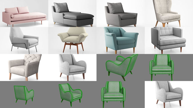 west elm armchairs and sectionals 3d model max obj mtl tga 1