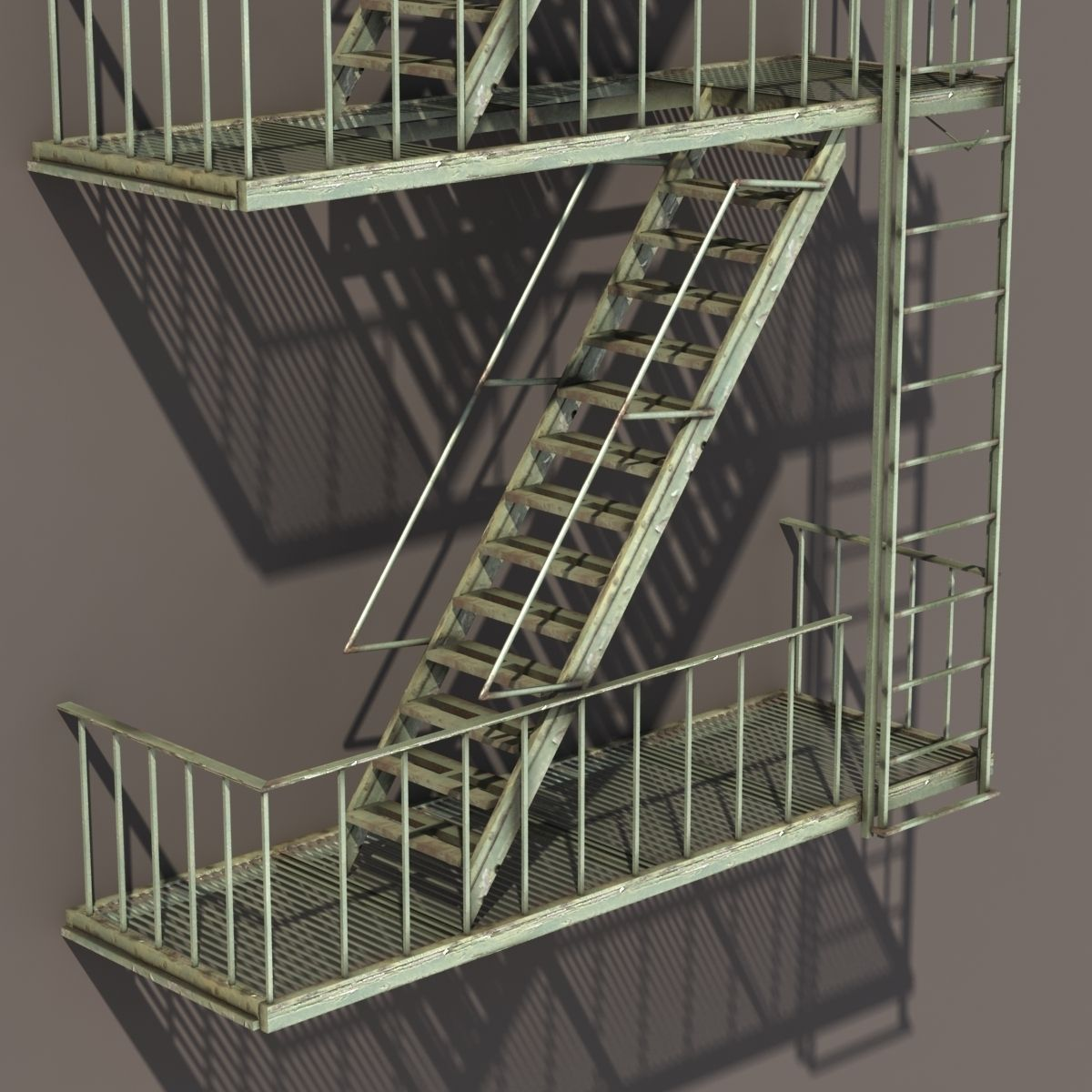Fire Escape Stairs Low Poly 3d Model Cgtrader