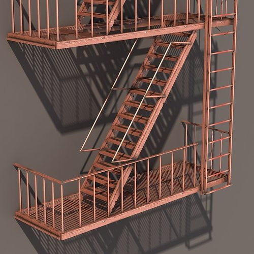 ... Fire Escape Stairs Low Poly 3d Model Low Poly Obj 3ds Lwo Lw Lws Hrc ...