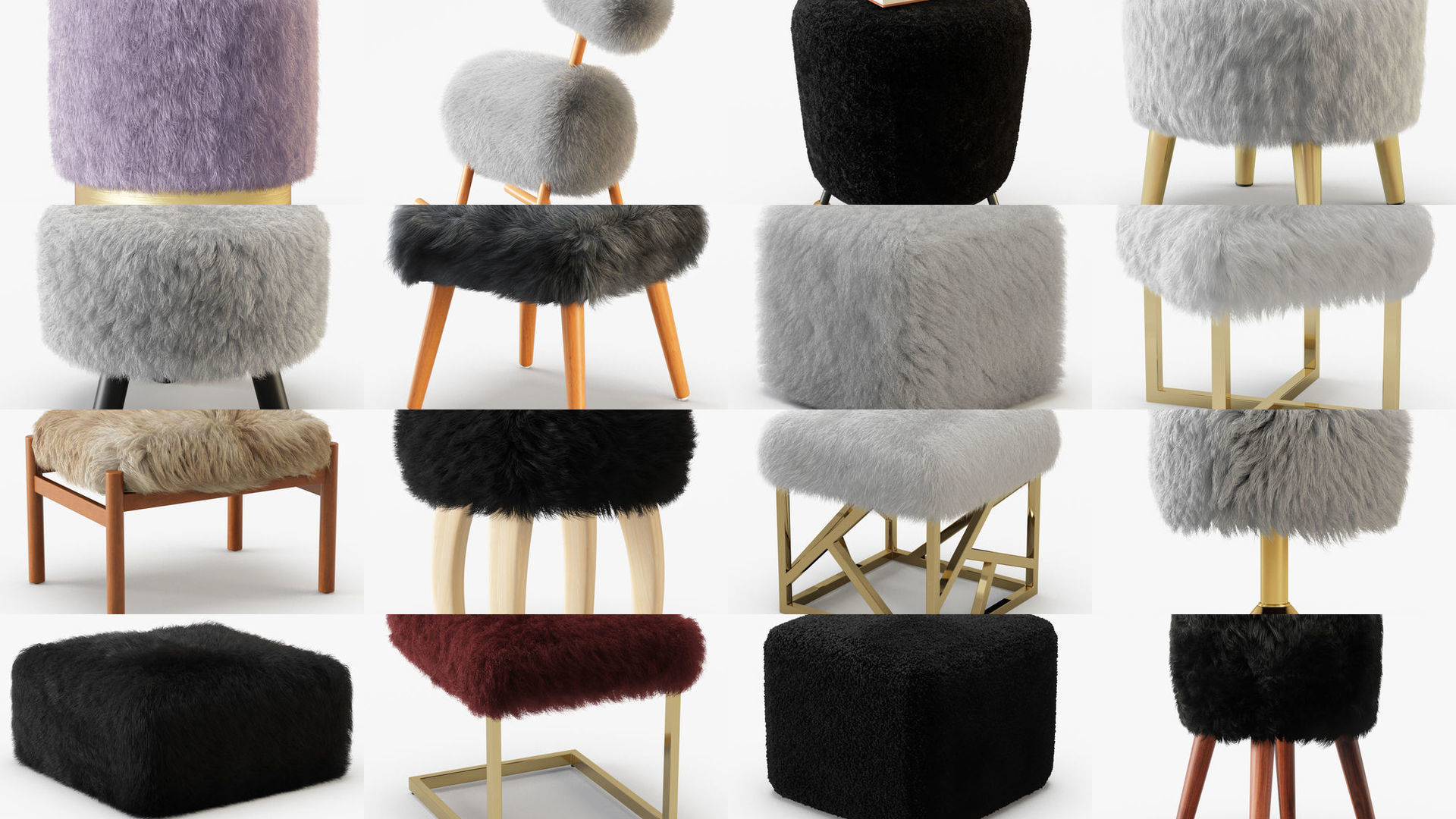 Collection of poufs with a wool of 20 pieces