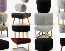 collection of poufs with a wool of 20 pieces 3d model
