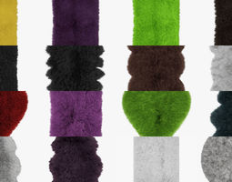 3D Collection of carpets and skins with wool of 20 pieces