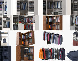 3D model Wardrobe with Clothes Pack