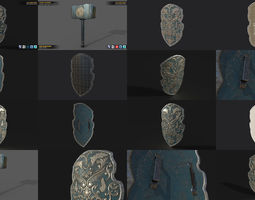 3D Paladin Hammer And Shield Pack