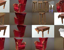 3D PBR Set of old vintage furniture