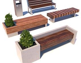 3D Street modern benches