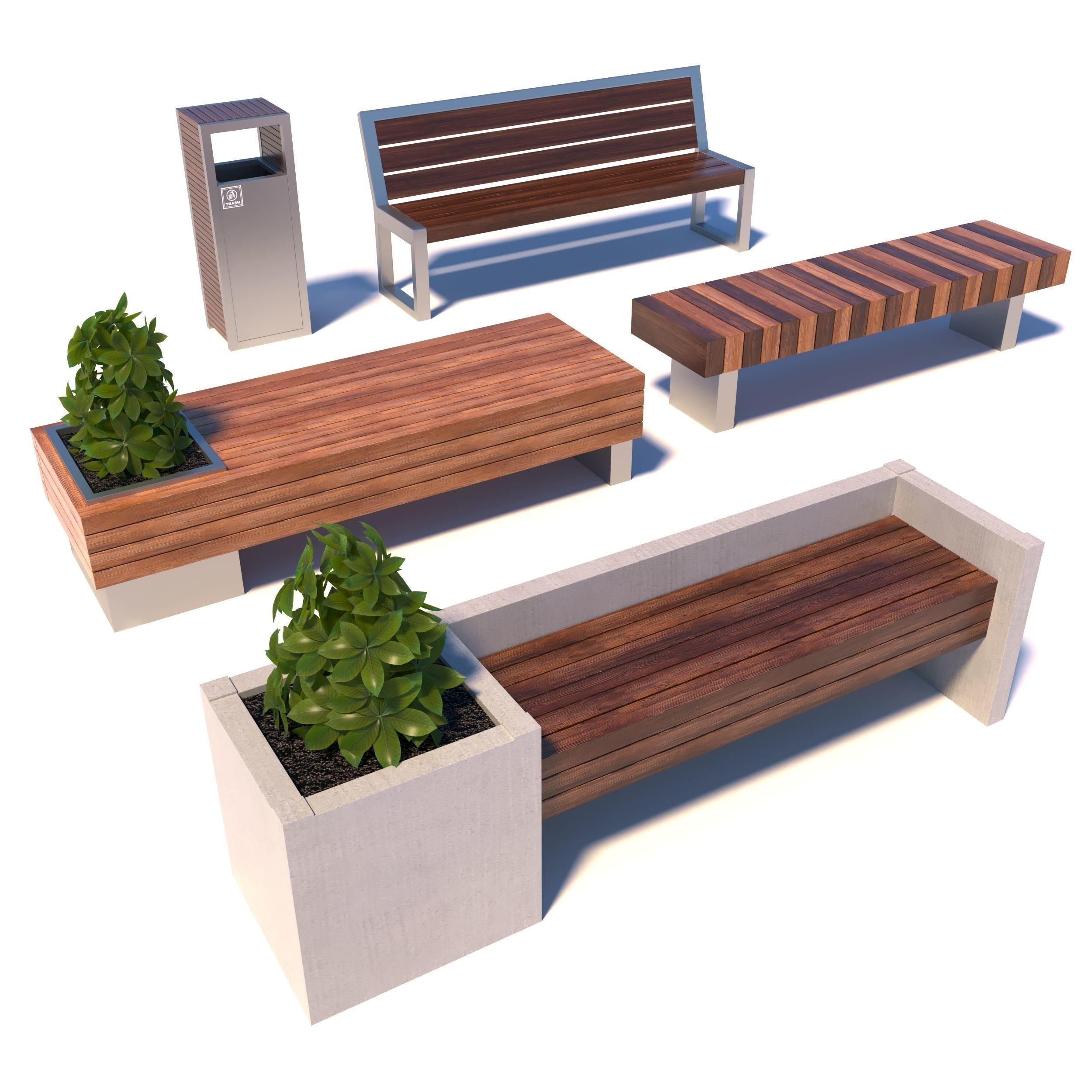 . Street modern benches   3D model