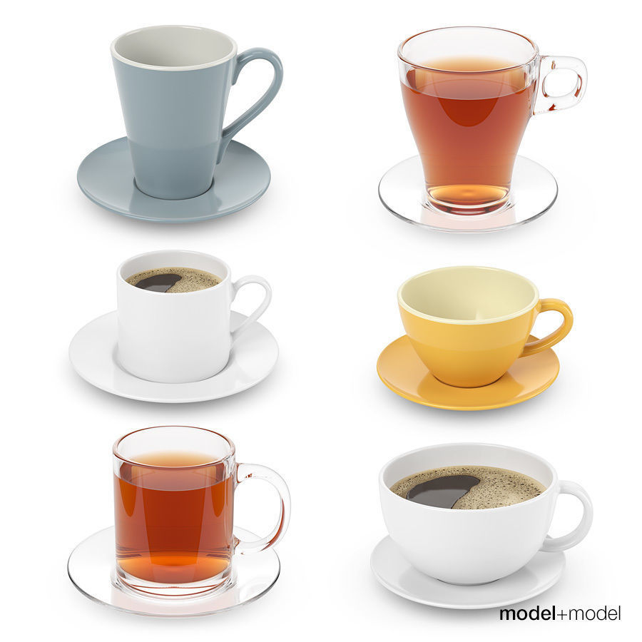 Cups collection with tea and coffee