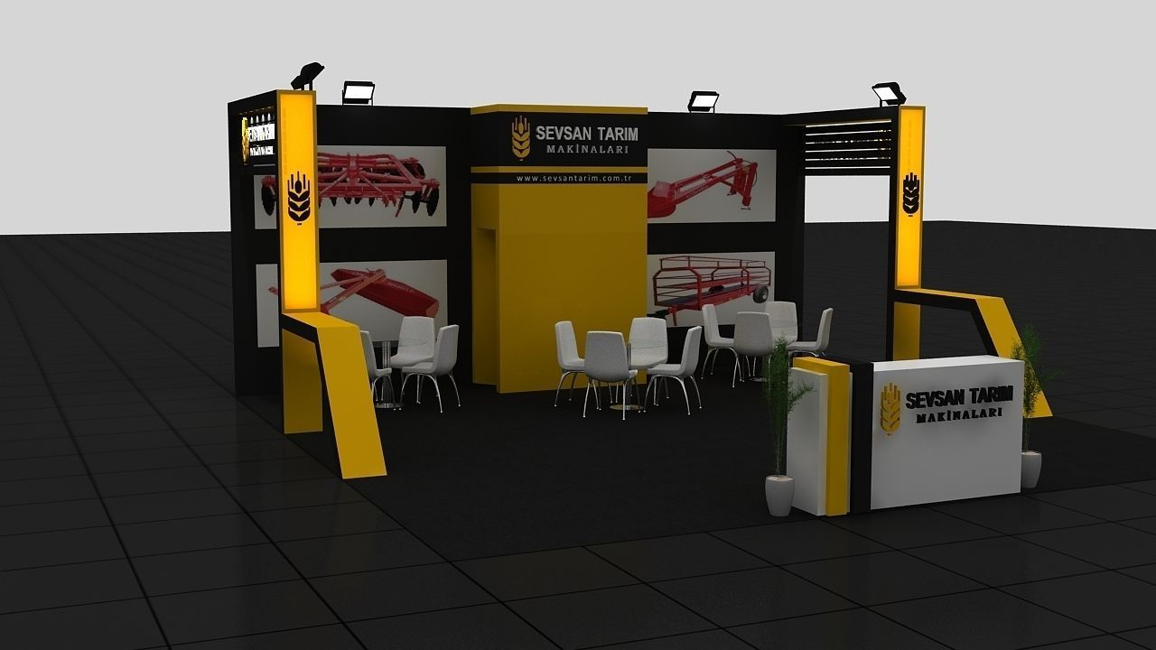 D Model Of Exhibition : Sevsan exhibition stand d model max cgtrader
