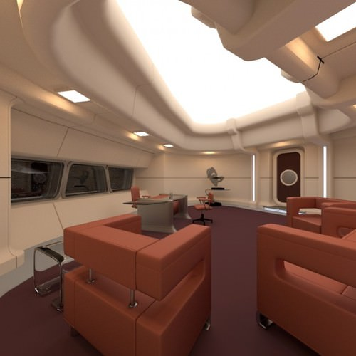 starship interior - captain s room 3d model obj 3ds blend mtl 1