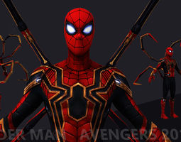 Spider Man IW 2018 avengers movie low poly 3D asset