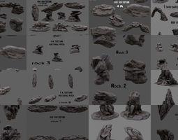 3D model rocks set full