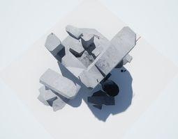 3D asset Debris Wall 3 LOW POLY