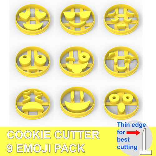 cookie cutter 9 emoji pack 3d model obj mtl fbx stl wrl wrz 1