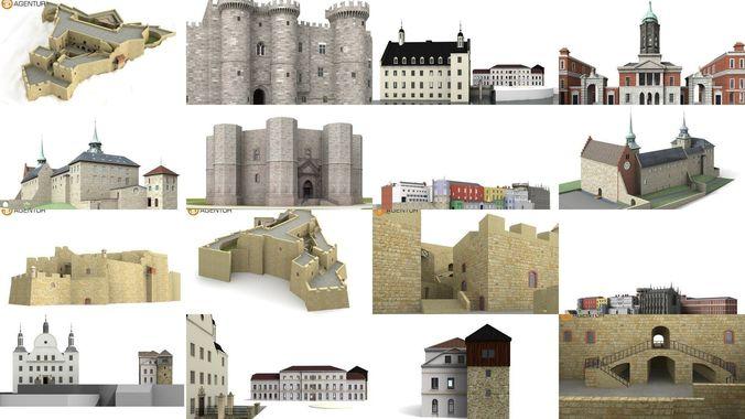 6x world famous castles 3d model max 3ds c4d dae skp tga 1