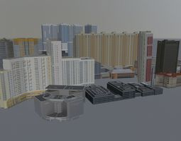 3D model VR / AR ready High Rise Buildings Pack