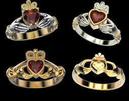 Claddagh ring set 3D
