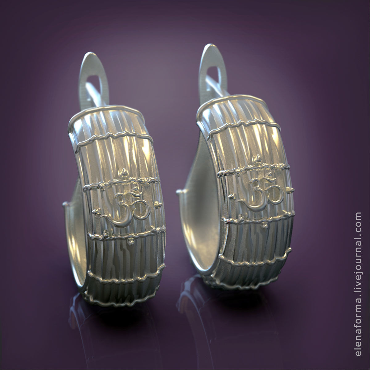 The Om mantra earrings 3D print model