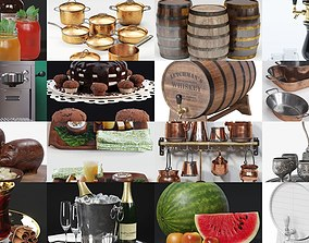 3D model Dishes and food with drinks set