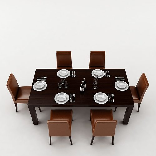 Dining table 3d model interior design cgtrader for Dining room table 3ds max