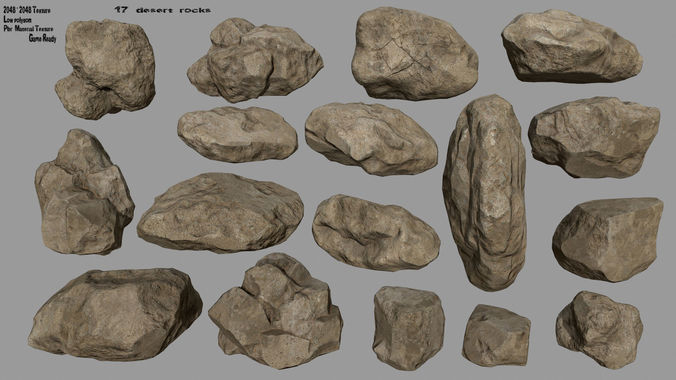 desert rocks 3d model low-poly obj mtl fbx blend 1