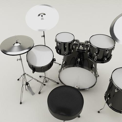 drum set 001 3d model max obj mtl 3ds fbx 1