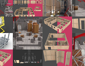 3D Construction scaffold and building site