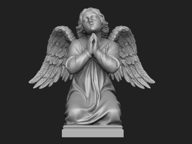 kneeling angel statue 3d model obj mtl stl 1
