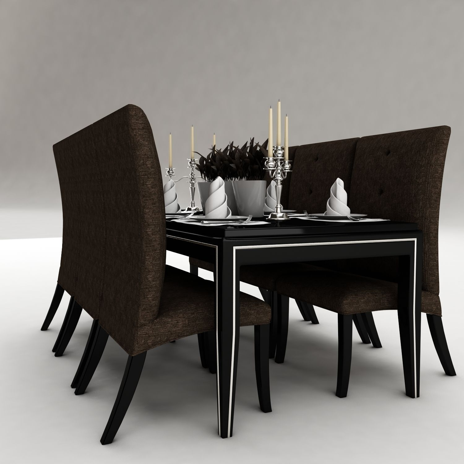 Dining table 48 3d model max obj 3ds fbx for Dining table latest model
