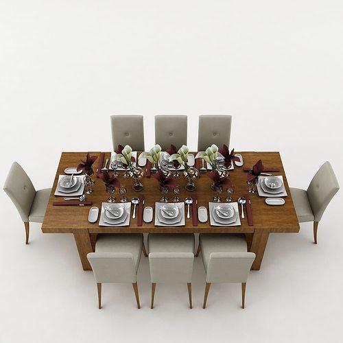 Dining table 51 3D Model MAX OBJ 3DS FBX DWG : dining table 51 3d model max obj 3ds fbx from www.cgtrader.com size 500 x 500 jpeg 24kB