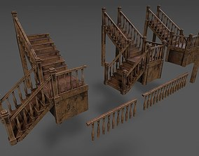 Mansion Stairs and Barriers 3D model