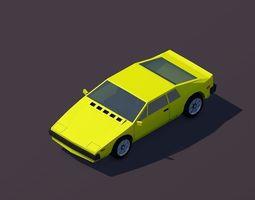 Cartoon Low Poly Sportcar 3D asset