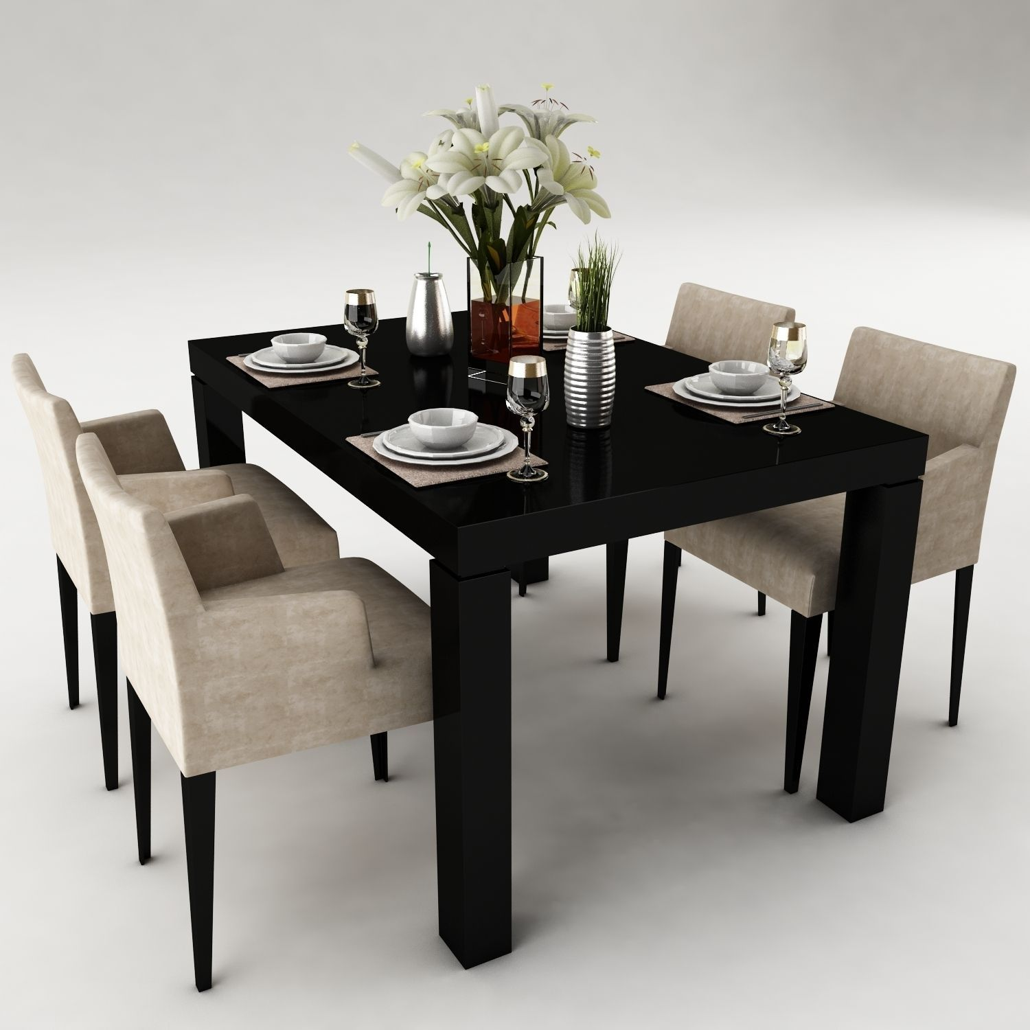 Dining table 50 3d model max obj 3ds fbx for Dining table latest model