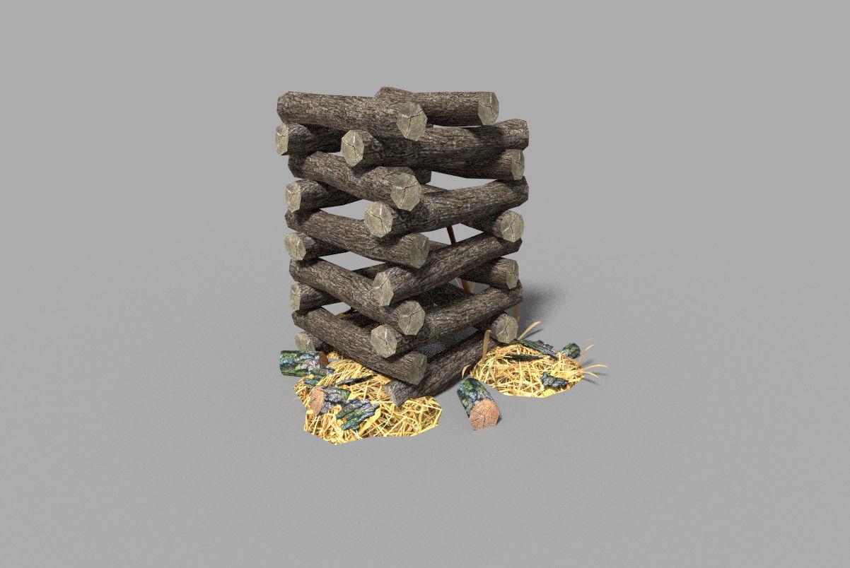 low poly medieval wood pile