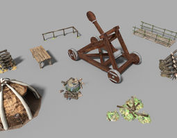 9 low poly medieval props pack 3D model