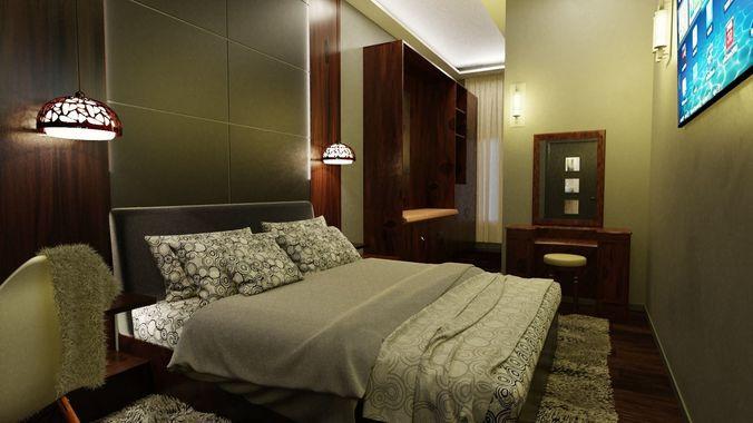 48D Model Bedroom Interior Of Minimalist Room CGTrader Classy Bedroom 1 Minimalist Interior