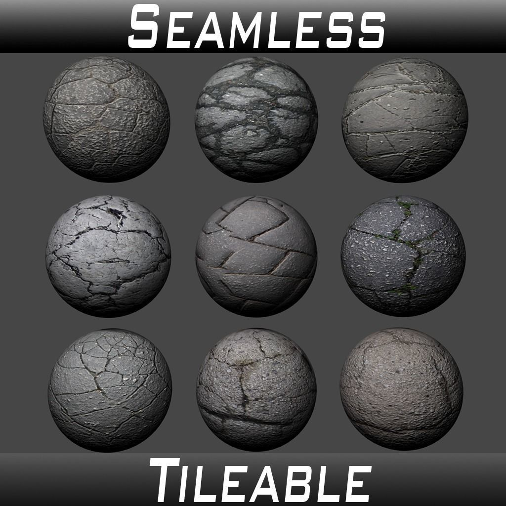 Ground Cracked Asphalt Textures Pack