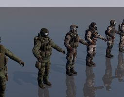 3D model Pack of 8 soldiers army man