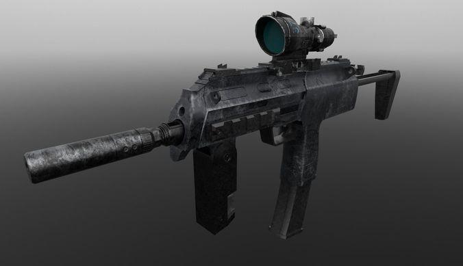 mp7 gun 3d model obj mtl 1