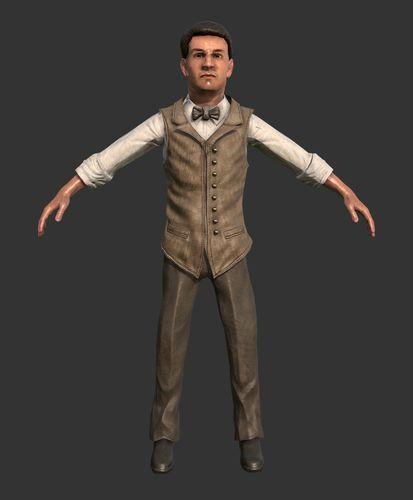 male character suit vintage 1920 3d model low-poly obj mtl 1