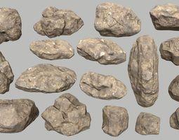 3D model desert rock set