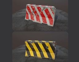 3D model game-ready TWO CONCRETE BARRIER