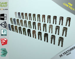 3D asset Pants Loose Fit Camouflaged Pack