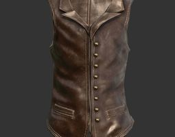 3D asset low-poly Leather Vest Suit Male Character