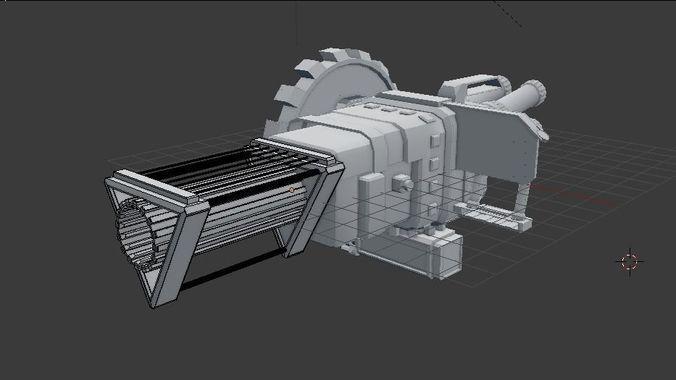 rail gun turret 3d model obj mtl 3ds fbx blend 1