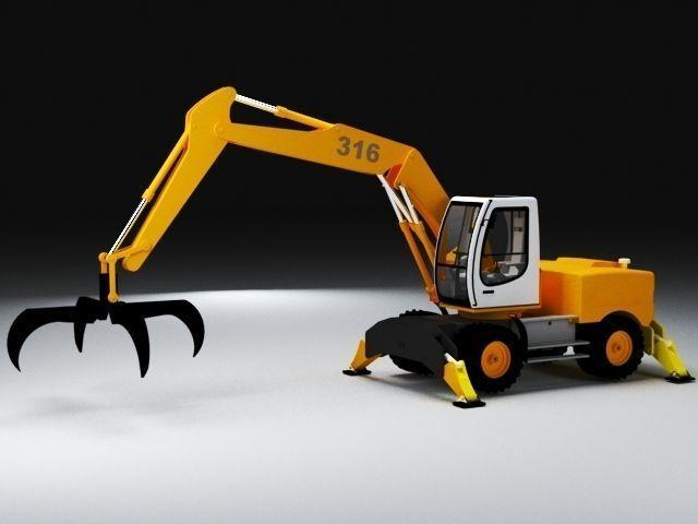 crane caterpillar excavadora retroescavadora 3d model max obj mtl fbx ms 1