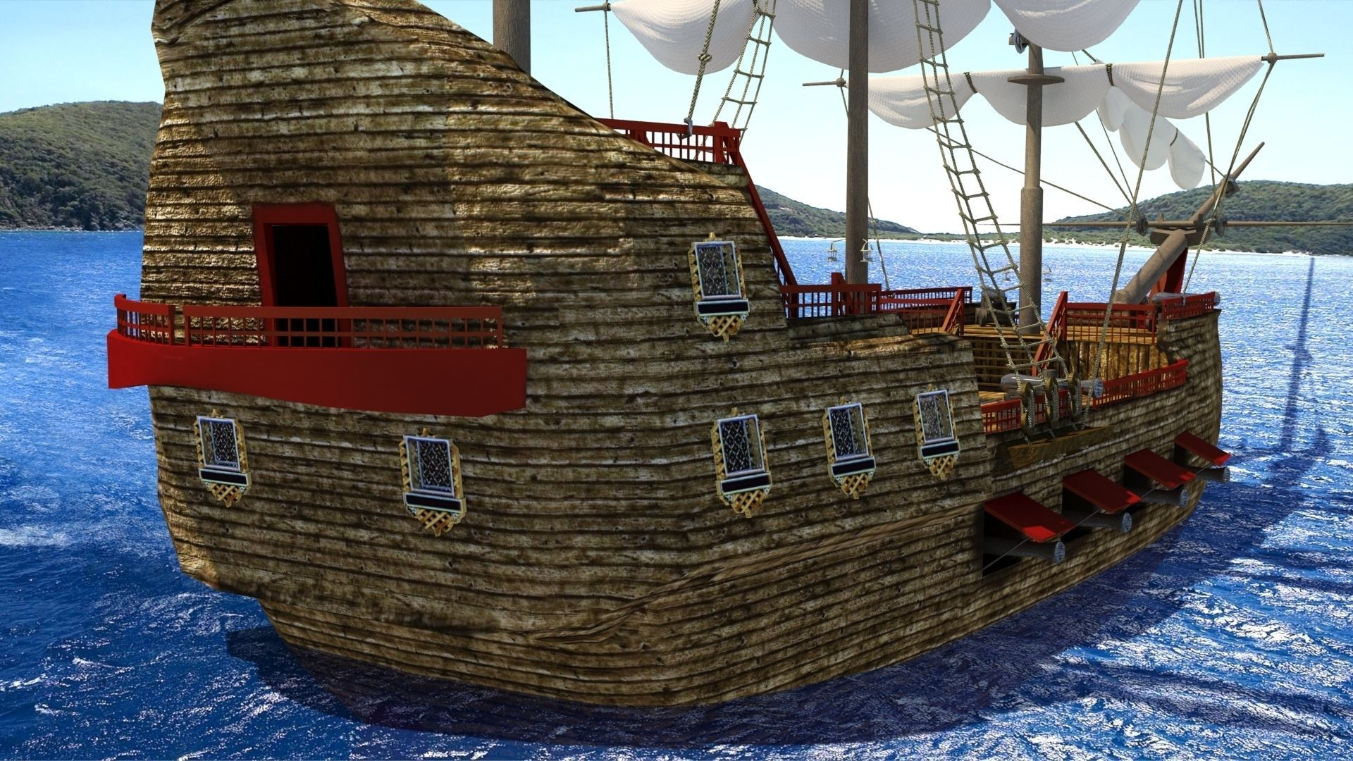 3d model old sail ship cgtrader