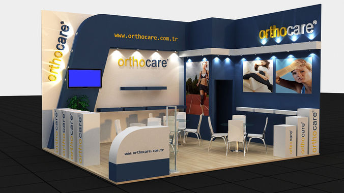 Free 3d Exhibition Stand Design : Orthocare exhibition stand d model max cgtrader