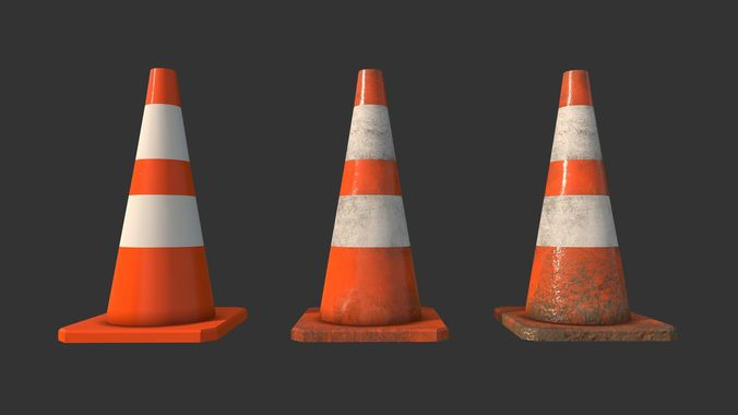 traffic cones construction set 3d model low-poly obj mtl 1
