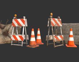 Barricade Cones Concrete Divider Pack 3D asset